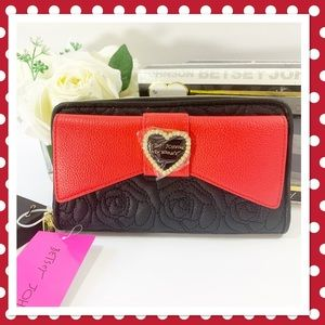 Betsey Johnson Large Bow Wallet Black/Red in Box